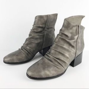 Antelope Ruched Leather Asymmetrical Boot Pewter
